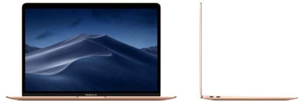 """front and side view of MacBook Air 13.3"""" Gold"""