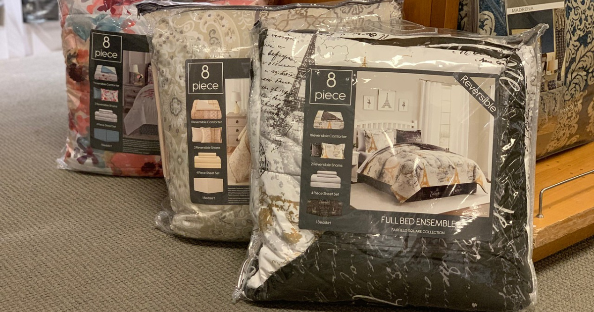 bed in a bag comforter sets in packages lined up on the floor