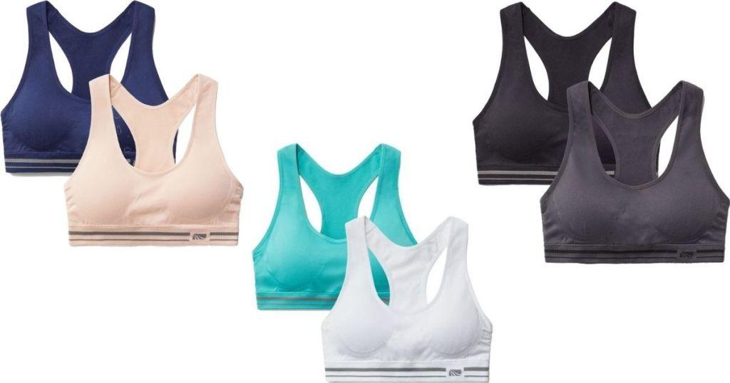 three sets of sports bras