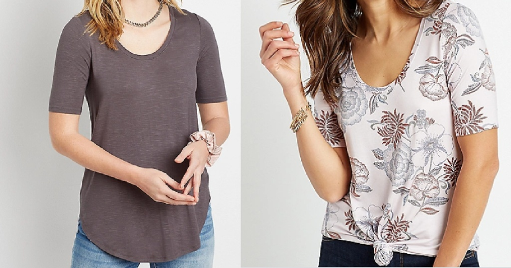 two ladies wearing maurices tees