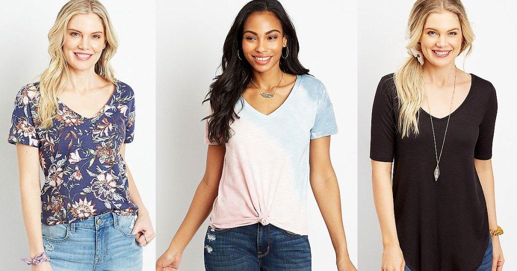 three women modeling tees