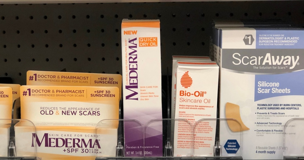 mederma quick dry oil on store shelf