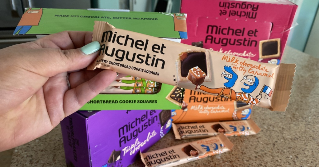 Michel et Augustin Gourmet Chocolate Cookie Square bar in hand