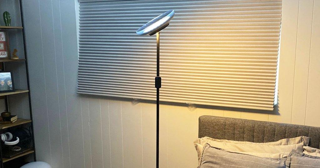 black floor lamp in a bedroom