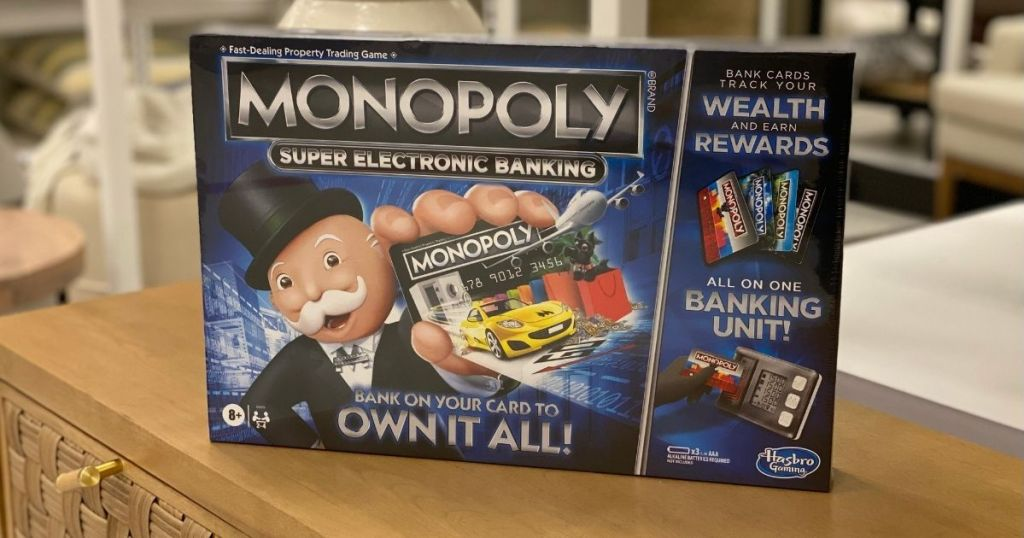 Monopoly Super Electronic Banking game on a table