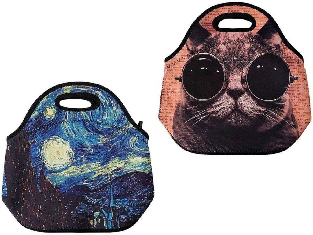 two Neoprene Lunch Bags