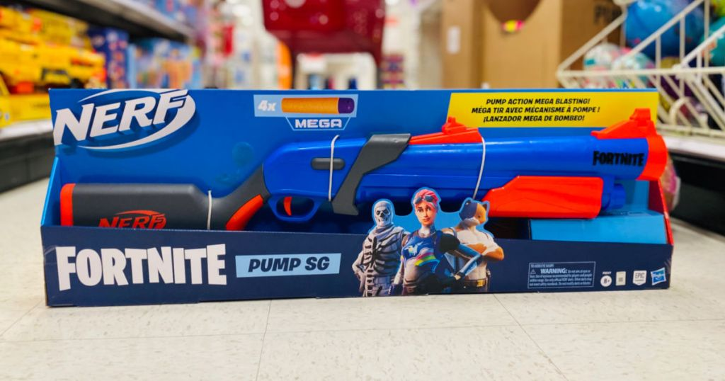 blue toy gun in aisle