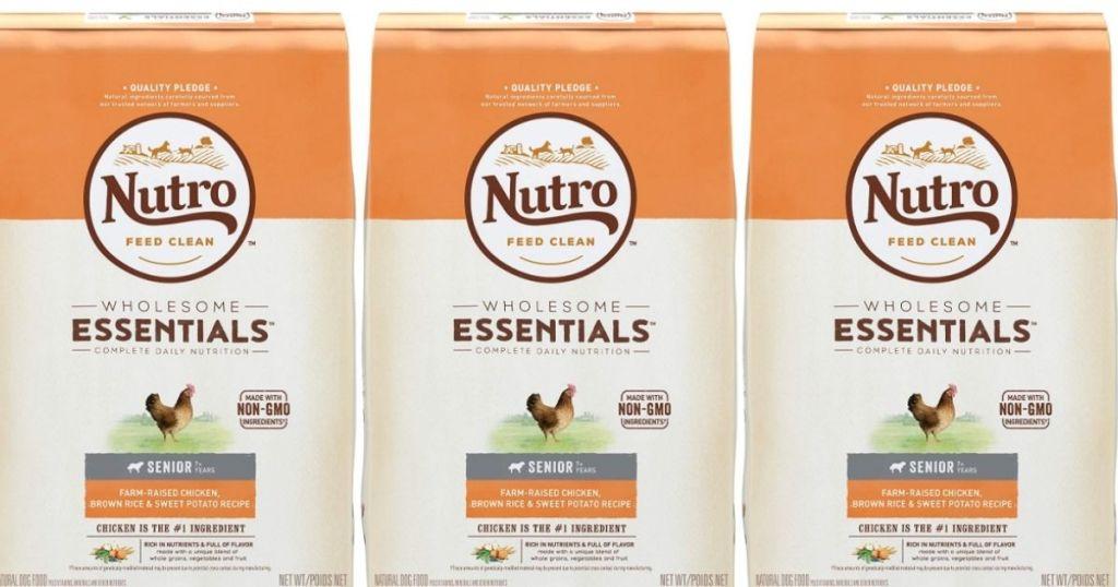 3 Nutro Wholesome Essentials Farm-Raised Chicken, Brown Rice & Sweet Potato Senior Dry Dog Food 15-lb. Bags
