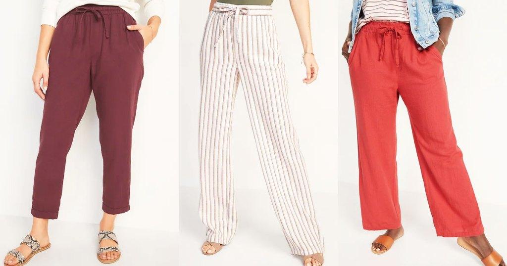women's linen pants at Old Navy