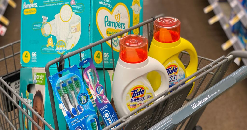diapers, toothpaste and laundry detergent in cart