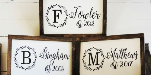 Personalized Established Year Signs Only $21.99 Shipped   Great Wedding Gift Idea!
