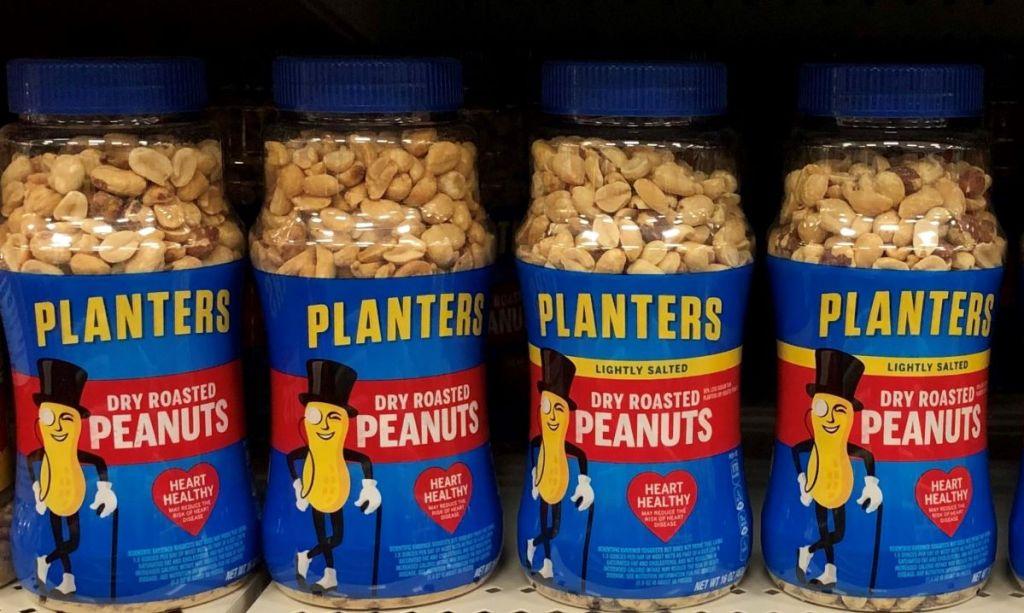 row of Planters peanuts on a shelf