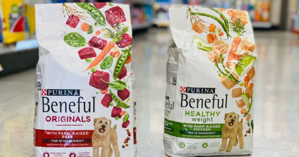 two bags of dog food in aisle