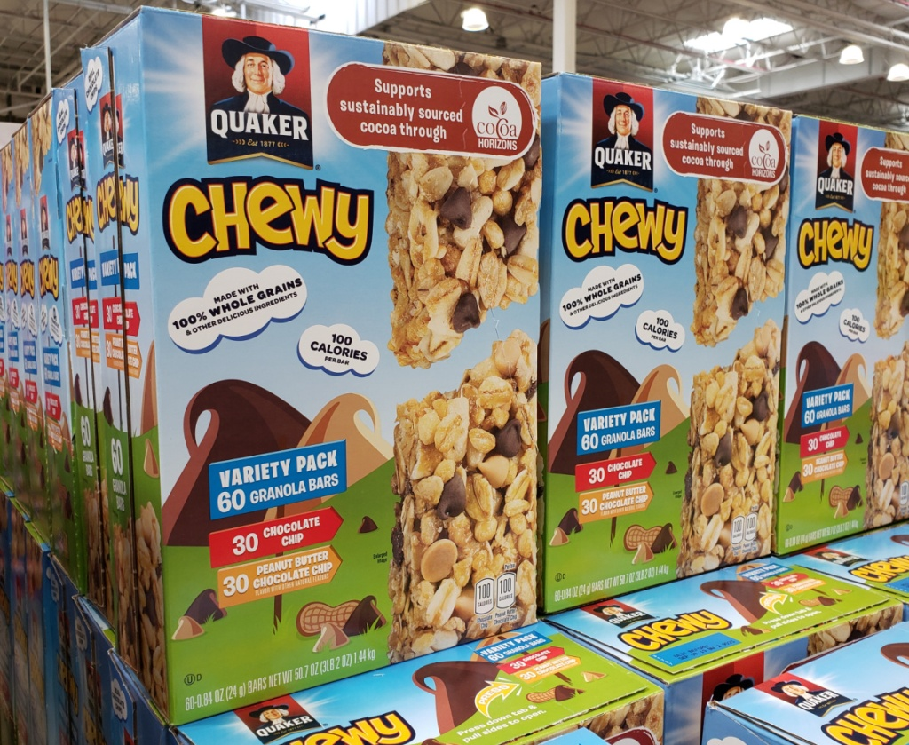large variety packs of Quaker chewy bars in-store