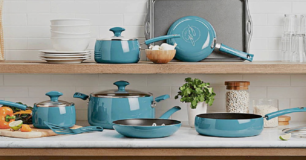 turquoise cookware set in kitchen