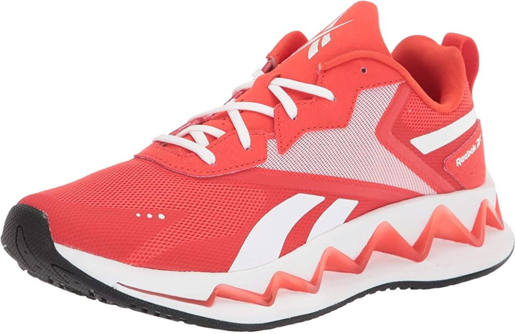 red and white Reebok shoe