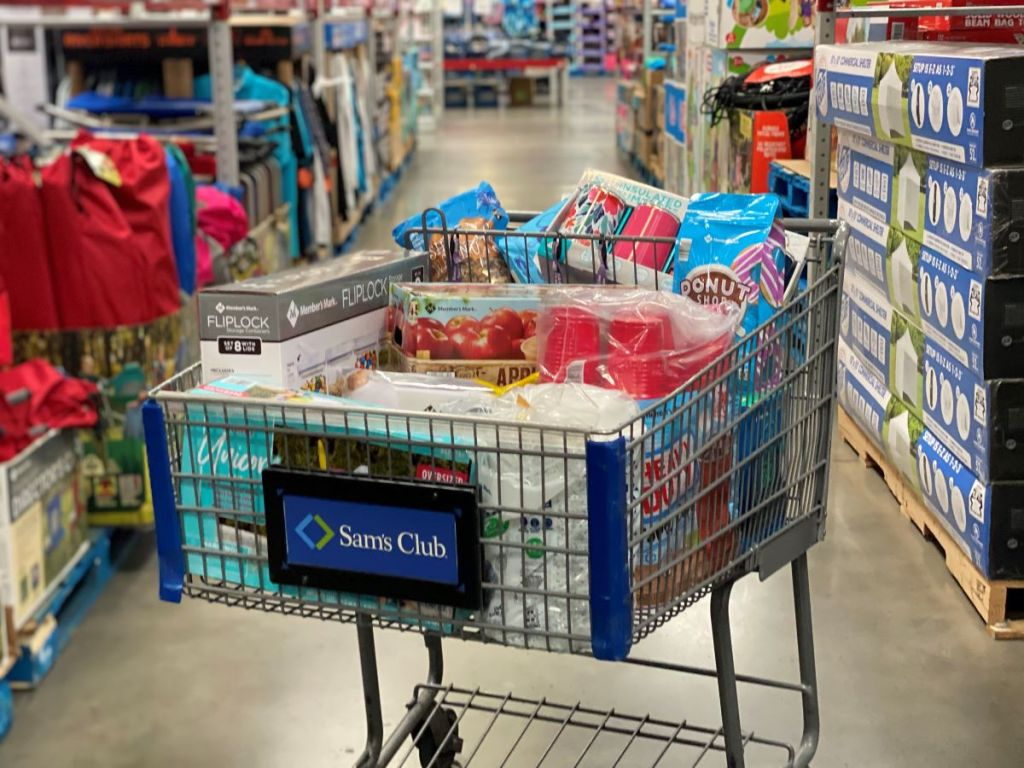 Sam's Club cart full of groceries