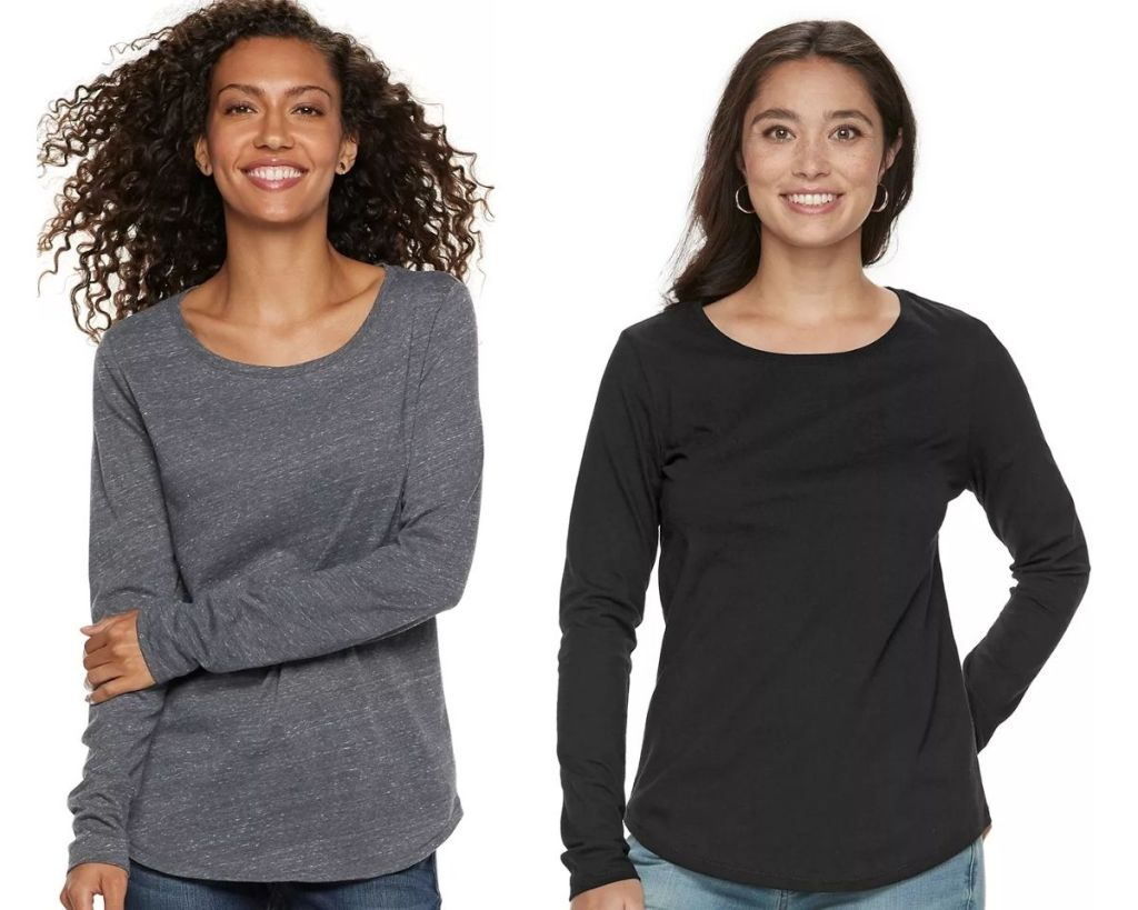 ladies in 2 Sonoma Goods For Life Long-Sleeve Crew tees