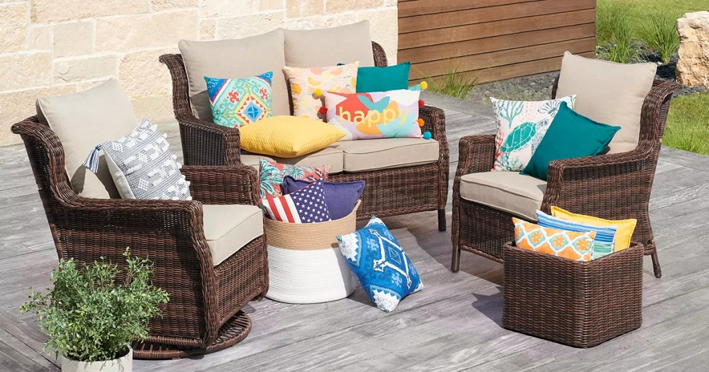 colorful outdoor seating area