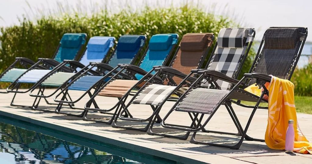 Sonoma Goods for Life Antigravity Chairs in a row by a pool