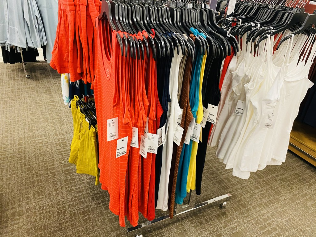 Sonoma Tanks and Camis on shopping rack at store