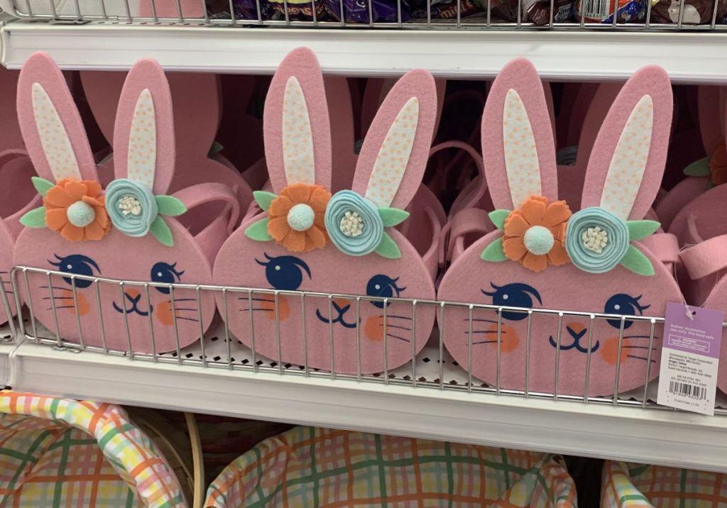 Spritz Easter Bunny Baskets on a shelf at Target