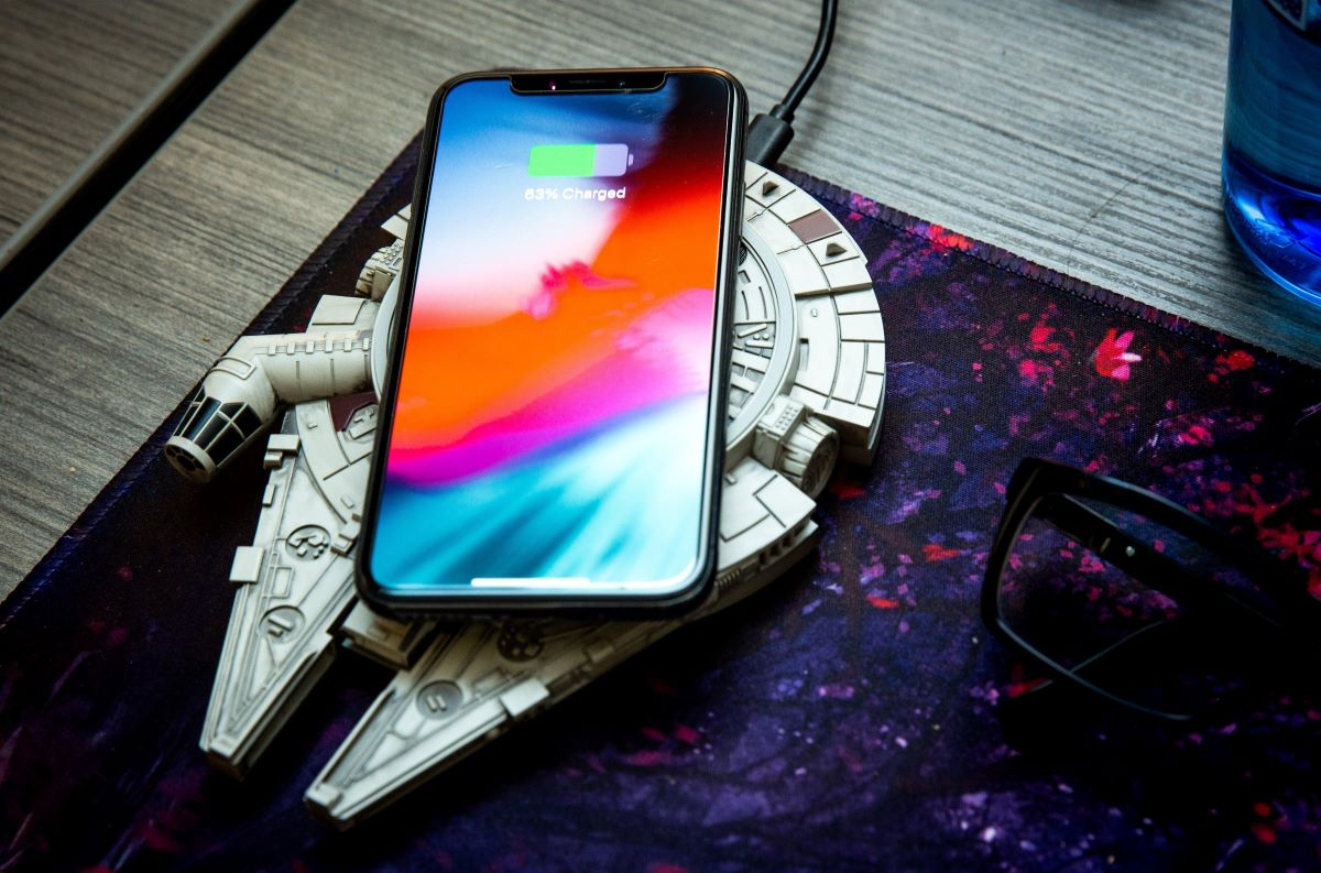 phone on a wireless star wars charger