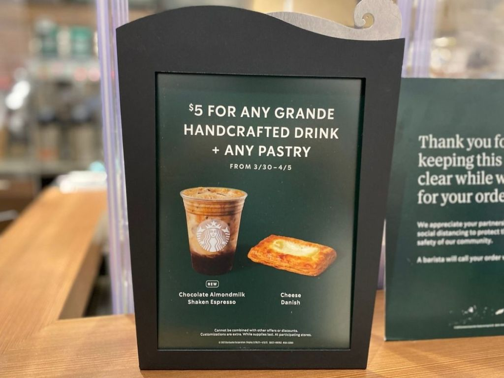Starbucks Sign $5 grange beverage and pastry
