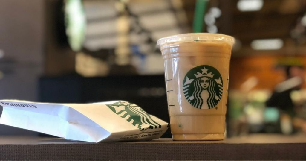 Starbucks beverage and pastry in bag