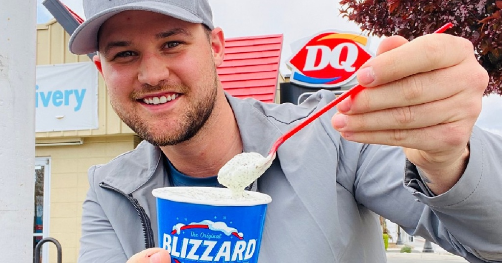 Stetson Eating Blizzard at Dairy Queen