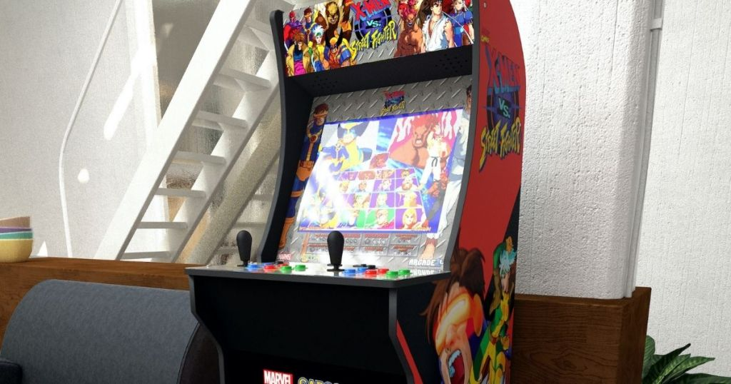 street fighter arcade game in a home