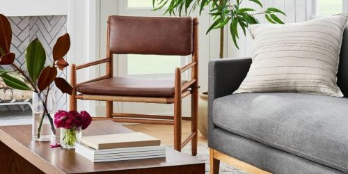 Trendy Faux Leather Wooden Accent Chair Just $137.50 Shipped on Target.com (Regularly $200)