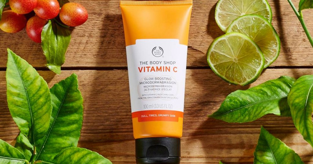 orange bottle of The Body Shop Vitamin C Microdermabrasion Exfoliator