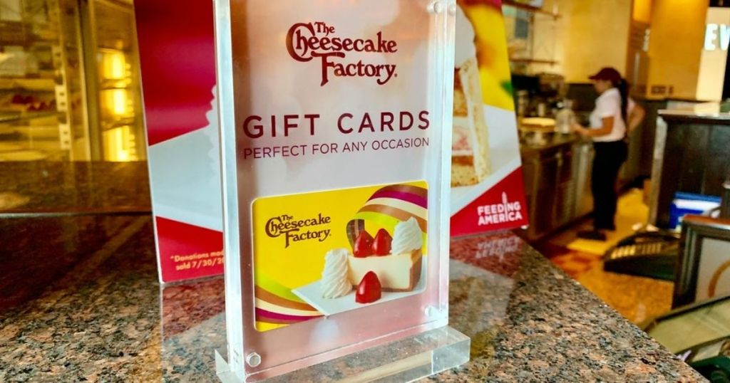 The Cheesecake Factory gift cards sign