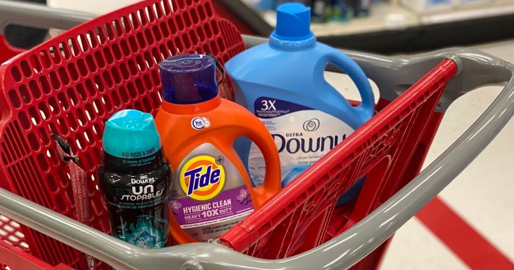 laundry products in red cart
