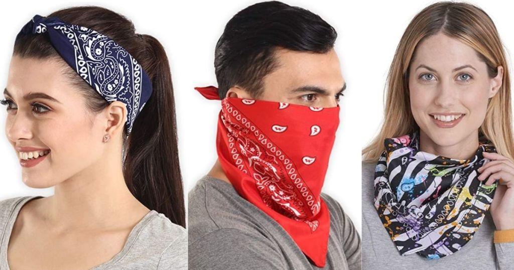 three people wearing bandanas