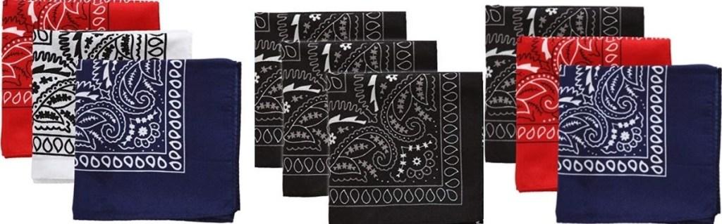 three sets of bandanas