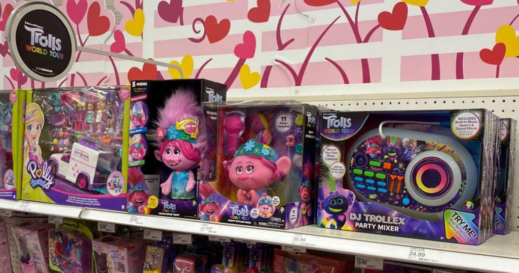 toy troll dolls on shelf