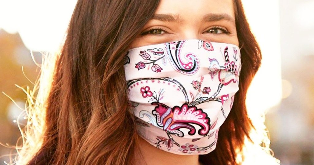 woman wearing a vera bradley face mask