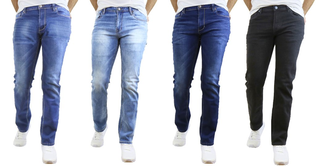 men modeling four pairs of jeans