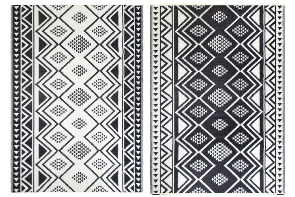 Both sides of World Market 6'x9' Black Moroccan Reversible Floor Mat