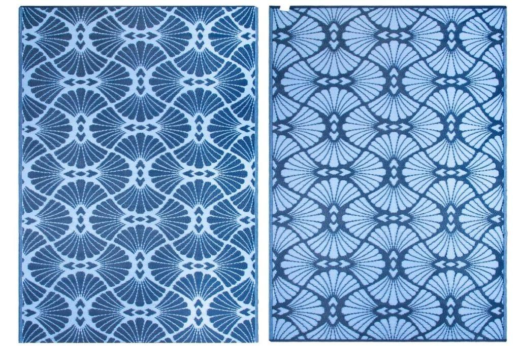 2 sides of World Market 6'x9' Blue Geo Promenade Reversible Floor Mat