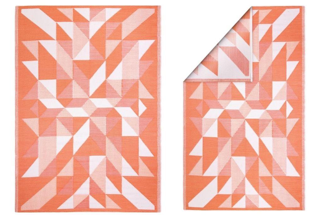 2 views of World Market 6'x9' Kaleidoscope Reversible Floor Mat