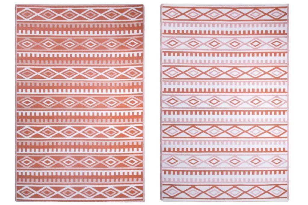 2 sides of World Market 6'x9' Terracotta Kilim Reversible Floor Mat