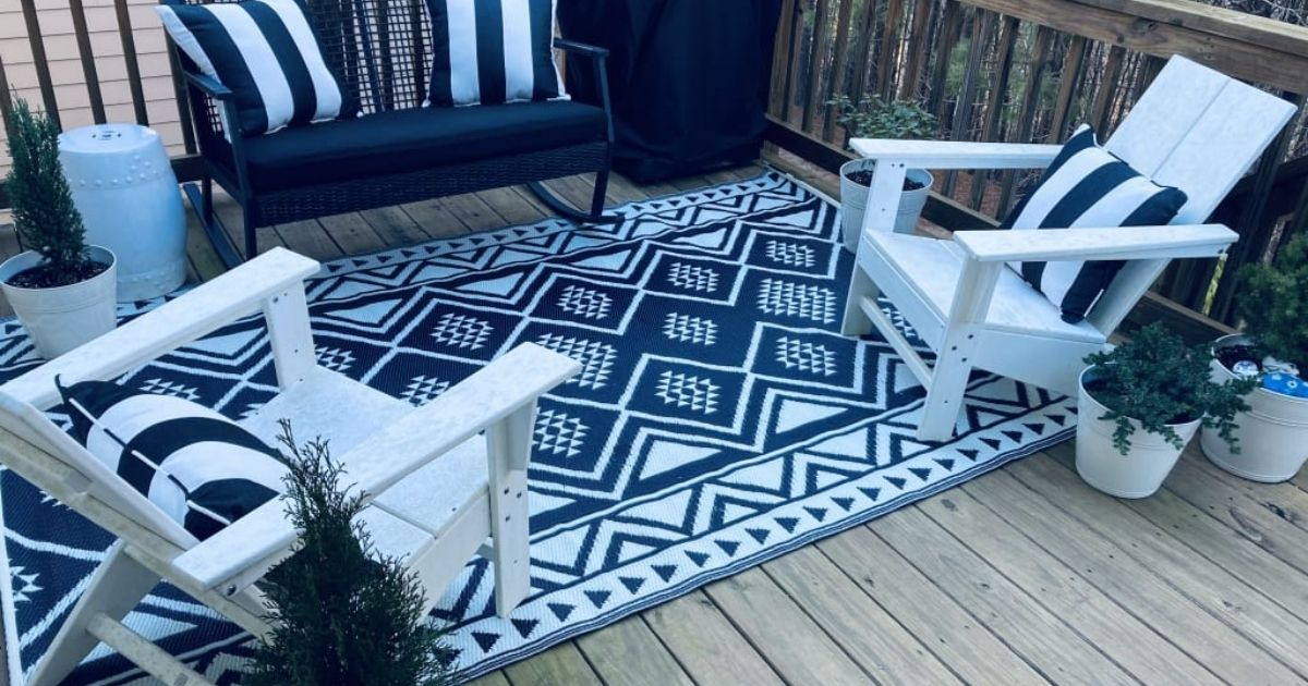 World Market Outdoor Rug on patio with furniture
