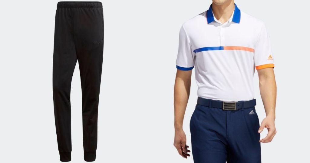 black adidas pants and white blue and orange adidas polo shirt