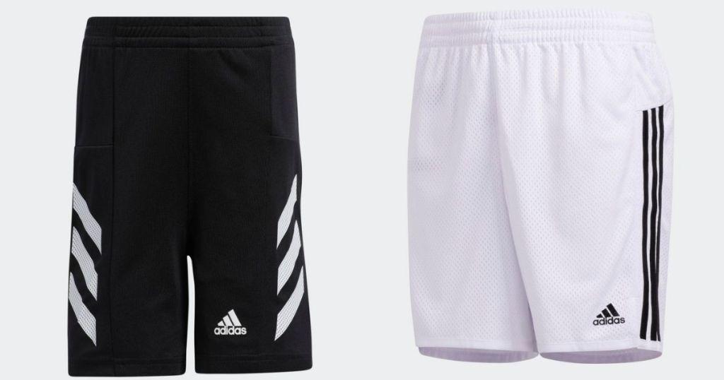 black and white adidas mesh shorts