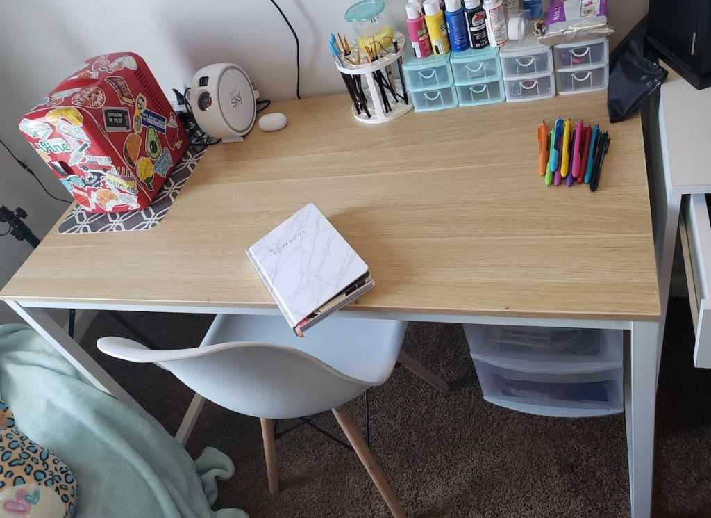 desk and chair in teen room with crafts on top - wayfair way day furniture sales