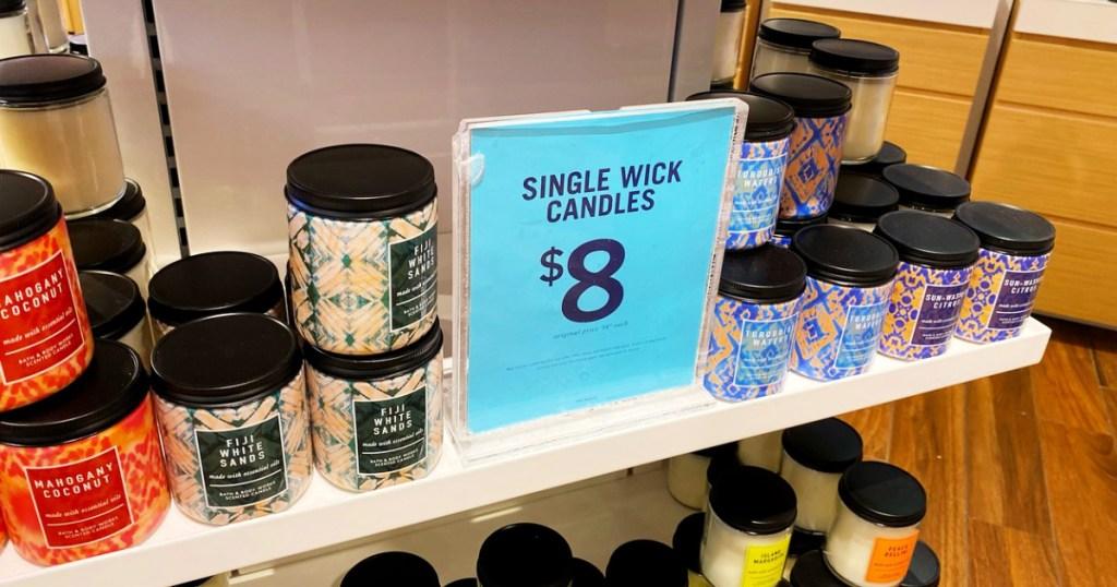 bath and body works single wick candles on shelf