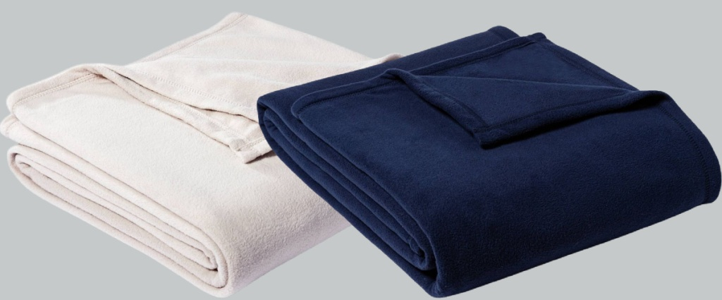 off white and navy blankets